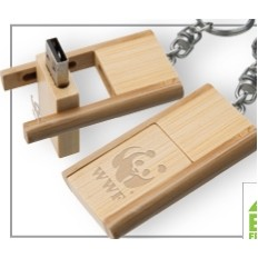 Kayu Wood USB Flash Drive w/ Keychain (1 GB)