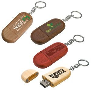 Legno Wood USB Flash Drive w/ Keychain (128 MB)