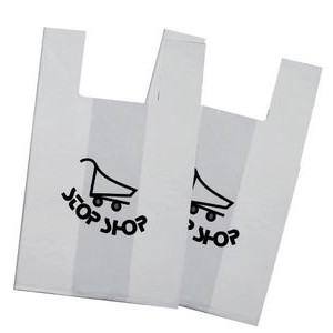 "11""x6""x21"" - White T Shirt Recyclable Bag -1 Color, 2 Sides"