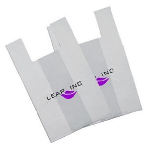 "9.75""x6""x19"" - White OXO Degradable T-Shirt Style Bags - 2 Color, 2 Sides"