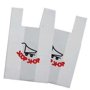 "12""x7""x23"" - White OXO Degradable T-Shirt bags -1 Color, 2 Sides"